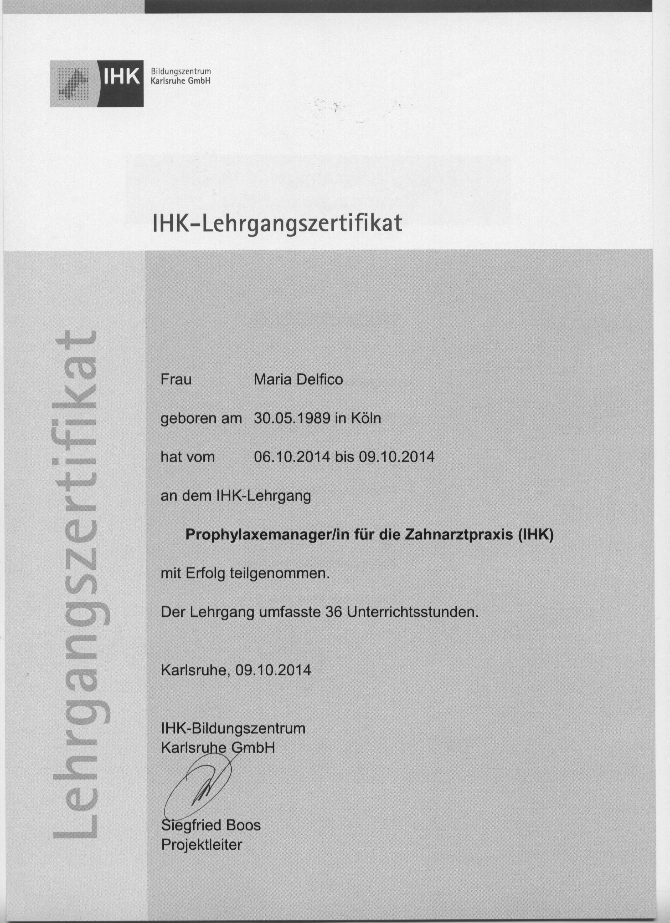IHK Lehrgangszertifikat Maria Delfico 001