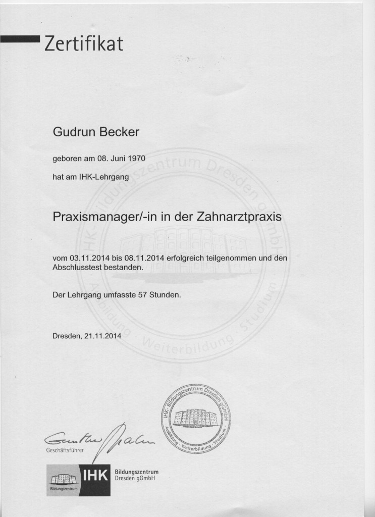 IHK Lehrgang Praxismanagerin Frau Gudrun Becker 001