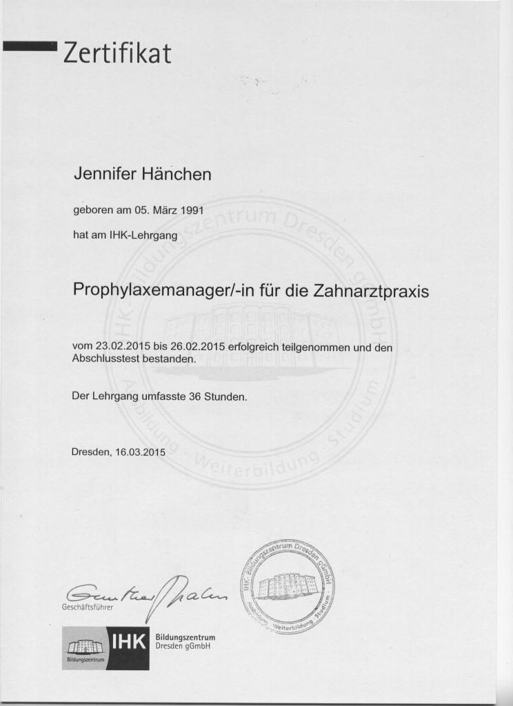 IHK Lehrgangszertifikat Jennifer Hänchen 001